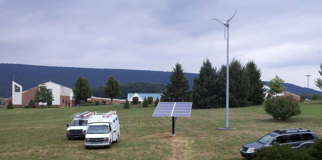 2.4kW Ground Mount solar array next to Skystream 3.7 near Hamburg